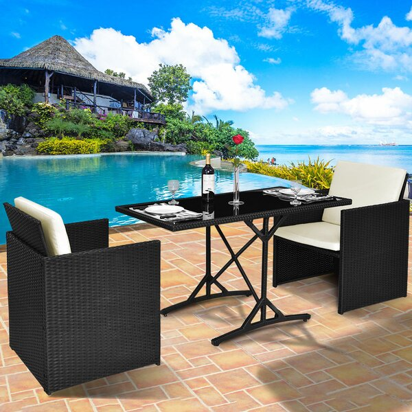 Guenevere Patio 3 Piece Bistro Set with Cushions by Latitude Run