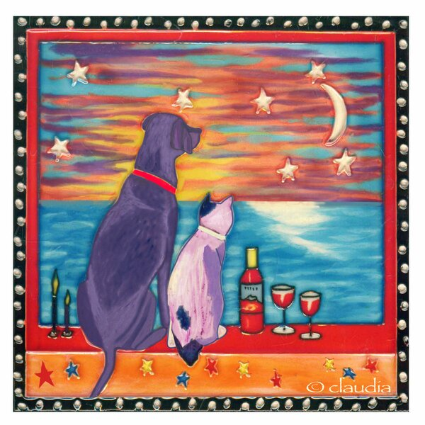 Best Friend and Wine Tile Wall Decor by Continental Art Center