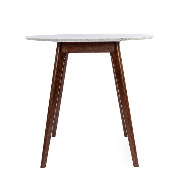Gussie Round Italian Carrara Bar Height Solid Wood Dining Table by Ivy Bronx Ivy Bronx