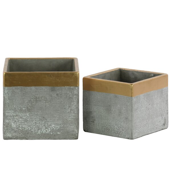 Bumgarner 2-Piece Cement Pot Planter Set by Union Rustic