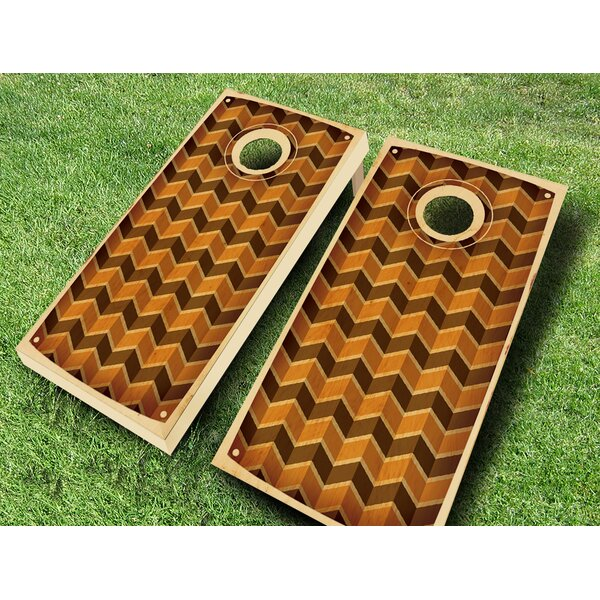 Retro Stained Multi Chevron Cornhole Set by AJJ Cornhole