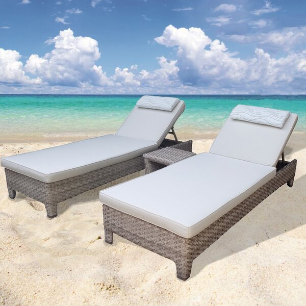 Galen 3 Piece Chaise Lounge Set with Cushion by Bayou Breeze