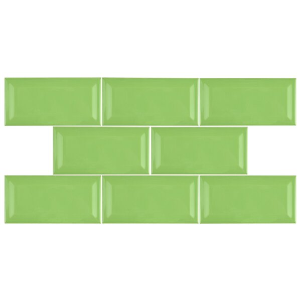 Prospect 3 x 6 Beveled Ceramic Subway Tile in Kiwi Green by EliteTile