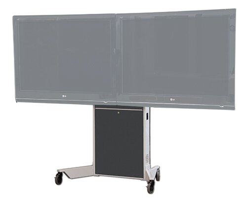 Dual Monitor Mobile Electric Lift AV Cart by VFI