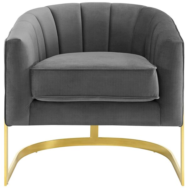 Dempster Vertical Channel Tufted Performance Velvet Accent Barrel Chair by Mercer41