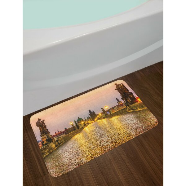 Landscape Charles Bridge Old Town in Prague Czech Republic with Medieval Buildings Non-Slip Plush Bath Rug by East Urban Home