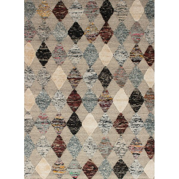 One-of-a-Kind Shelbie Hand-Knotted Wool/Silk Light Khaki Area Rug by Brayden Studio