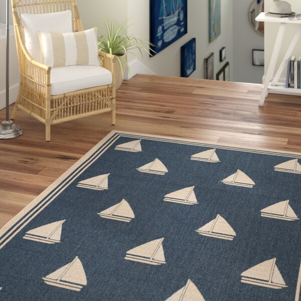 Bosworth Navy/Beige Indoor/Outdoor Area Rug by Beachcrest Home