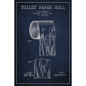 Toilet Paper Navy Blue Patent Blueprint Graphic Art on Wrapped Canvas by Trent Austin Design
