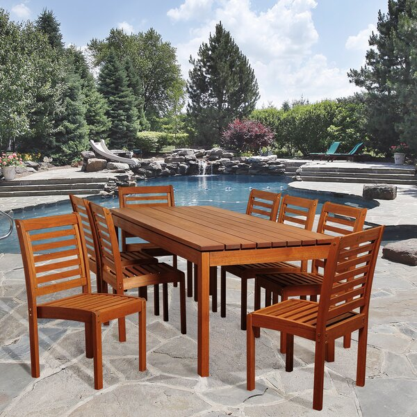 Nya International Home Outdoor 9 Piece Dining Set by Rosecliff Heights