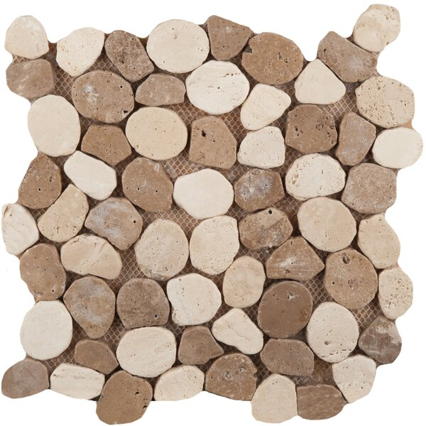 Travertine 12 x 12 Pebble Mosaic in Beige/Mocha by Emser Tile