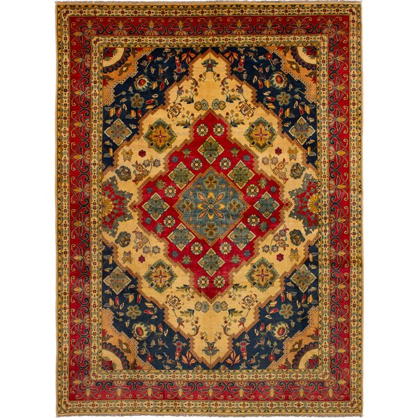 One-of-a-Kind Baretta Hand-Knotted Wool Cream/Red Area Rug by Isabelline