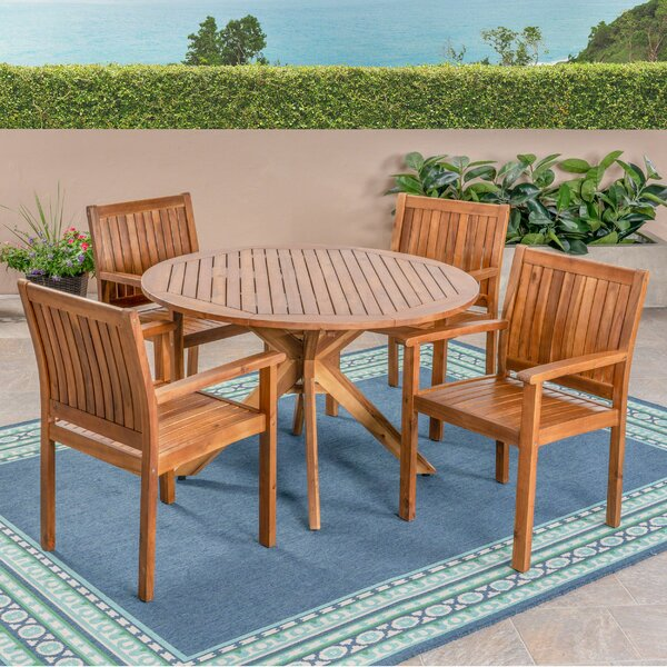 Bolebroke 5 Pieces in Set Teak Dining Set by Millwood Pines