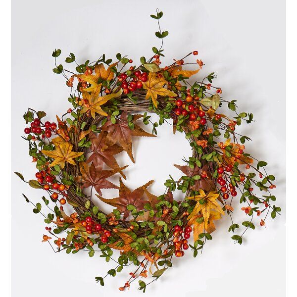 Fall Berry and Maple Leaf on Natural Twig Base 22 Wreath by August Grove