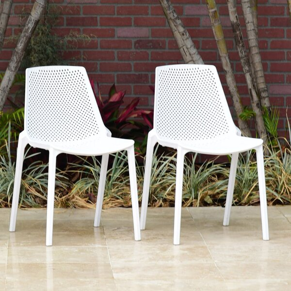 Indigo Stacking Patio Dining Chair (Set of 2) by Wrought Studio
