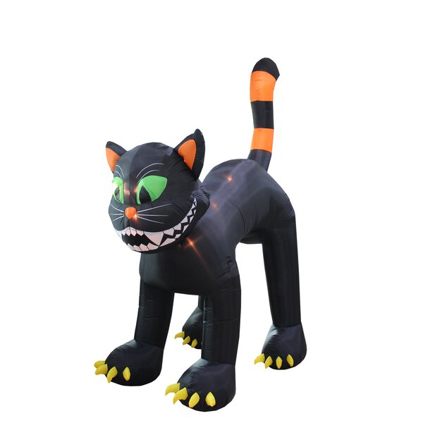 Halloween Inflatable Animated Huge Black Cat Decoration by The Holiday Aisle