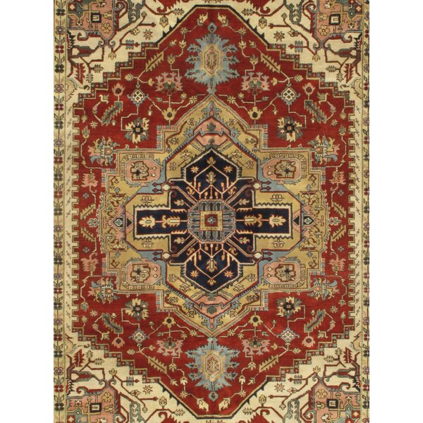 Hand-Knotted Wool Rust/Beige Area Rug by Pasargad NY