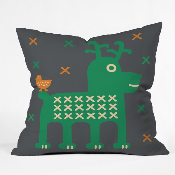 Gabriela Larios Reindeer and Birdy Throw Pillow by Deny Designs