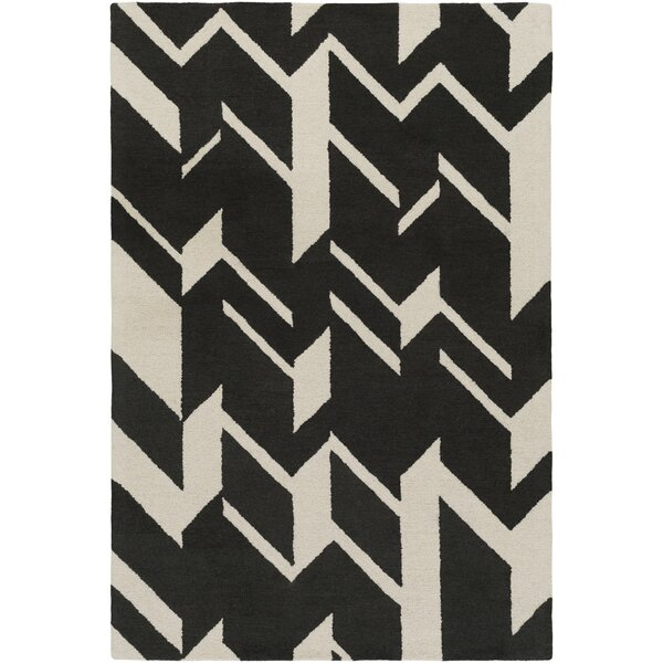 Youmans Hand-Crafted Black/Beige Area Rug by George Oliver