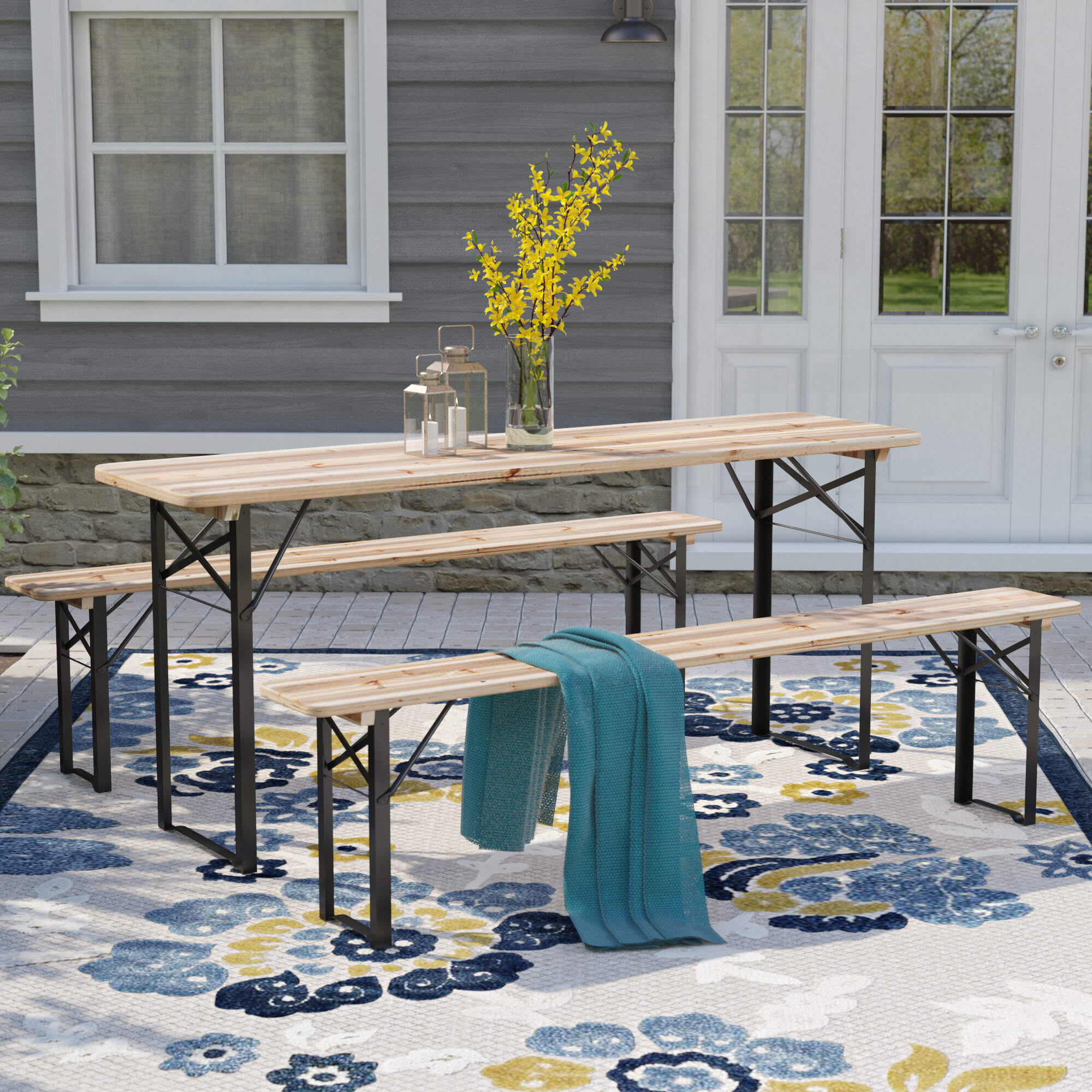 Andover Mills Baumgarten 3 Piece Outdoor Folding Picnic Table Set u0026 Reviews | Wayfair & Andover Mills Baumgarten 3 Piece Outdoor Folding Picnic Table Set ...