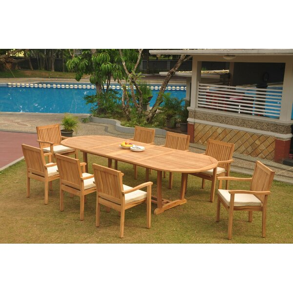 Dwight 9 Piece Teak Dining Set by Rosecliff Heights