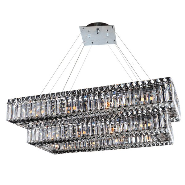 Moye 26 - Light Unique / Statement Rectangle Chandelier With Crytal Accents By Mercer41