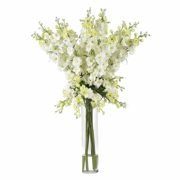 Delphinium Silk Flower Arrangement in White by Nearly Natural