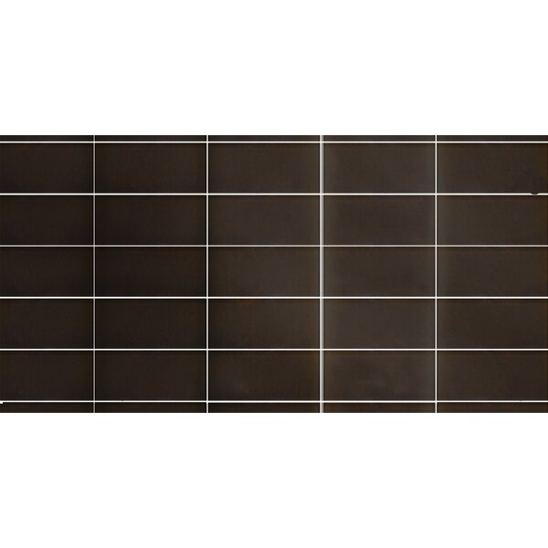 Secret Dimensions 3 x 6 Glass Subway Tile in Glossy Bronze by Abolos