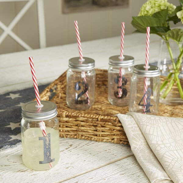 Cooke 16 oz. Numbered Mason Jar (Set of 4) by Birch Lane™