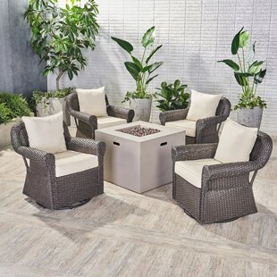 Nader Outdoor 5 Piece Rattan Sofa Seating Group with Cushions ByDarby Home Co