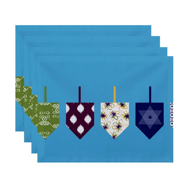 Doodled Dreidels Geometric Print Placemat (Set of 4) by The Holiday Aisle