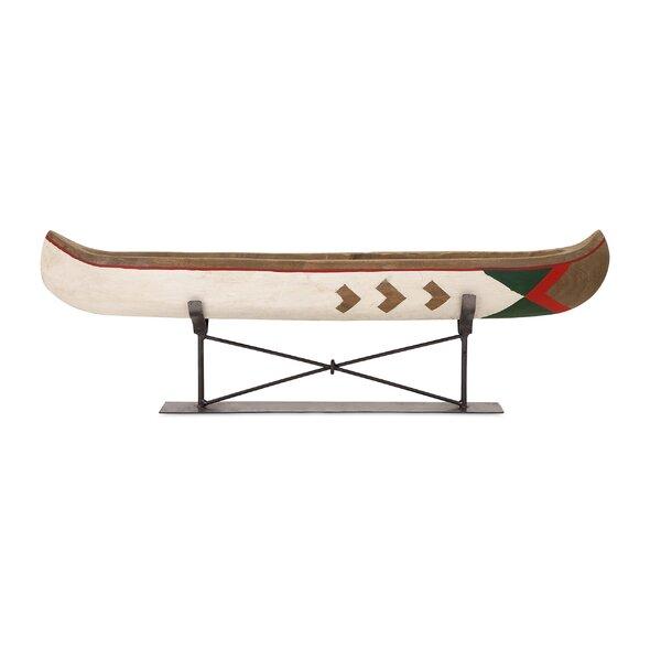 Velmanikandan Large Canoe on Metal Stand Sculpture by Loon Peak