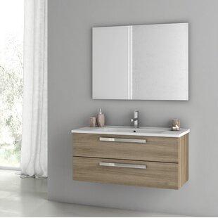 Comparison Dadila 40 Wall-Mounted Single Bathroom Vanity Set with Mirror ByACF Bathroom Vanities