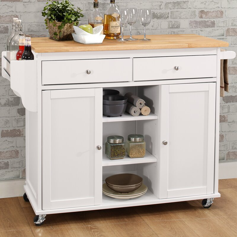 Brecht Wood Kitchen Cart