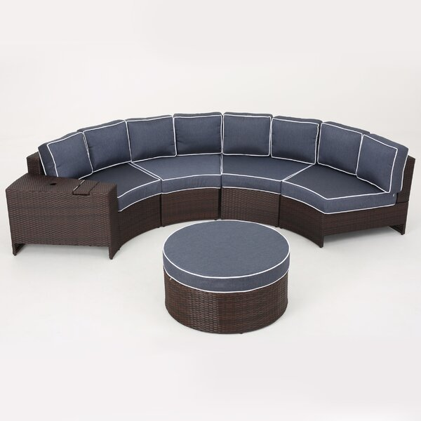 Bermuda 6 Piece Rattan Sectional Seating Group with Cushions