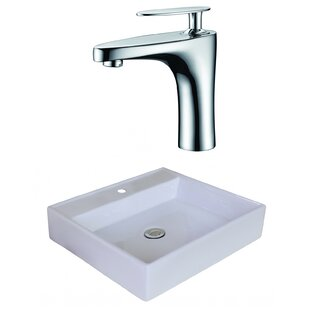 Deals Ceramic Square Vessel Bathroom Sink with Faucet and Overflow By American Imaginations