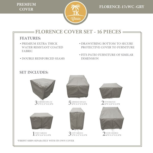 Forence 15 Piece Water Resistant Patio Furniture Cover Set by TK Classics