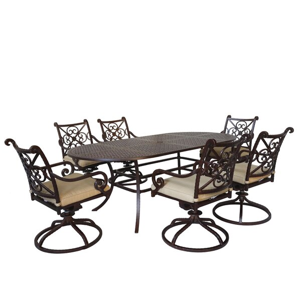 Waconia 7 Piece Dining Set with Sunbrella Cushions by Fleur De Lis Living