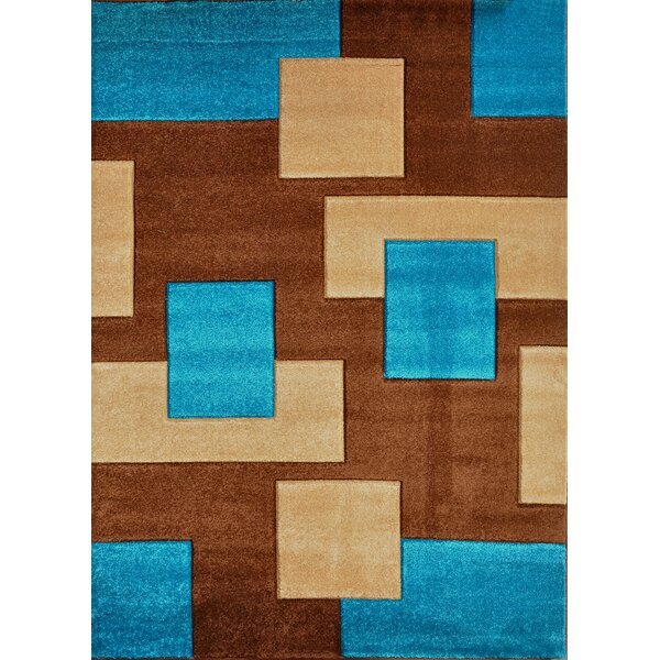 Melfa Contemporary Blue/Brown Area Rug by Orren Ellis