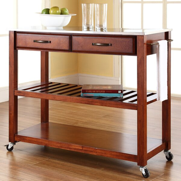Best Choices Hedon Kitchen Island With Stainless Steel Top By Three Posts Savings