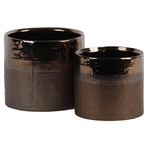 Stroud 2-Piece Ceramic Pot Planter Set by World Menagerie