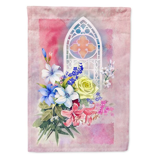 Church Window and Flowers 2-Sided Polyester 15 x 11 in. Garden Flag by Caroline's Treasures