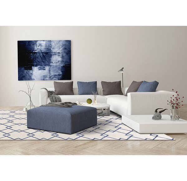 Frankie Hand-Tufted Ivory/Blue Area Rug by Brayden Studio