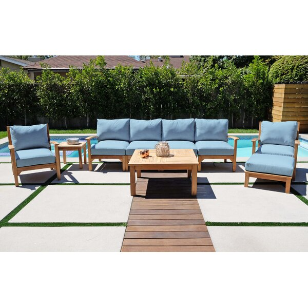 Crescio Deluxe 6 Piece Teak Sunbrella Complete Patio Set with Cushions by Foundry Select