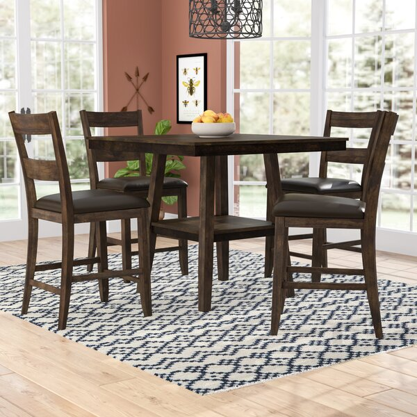 Rutkowski 5 Piece Counter Height Solid Wood Pub Table  Set By Gracie Oaks Best