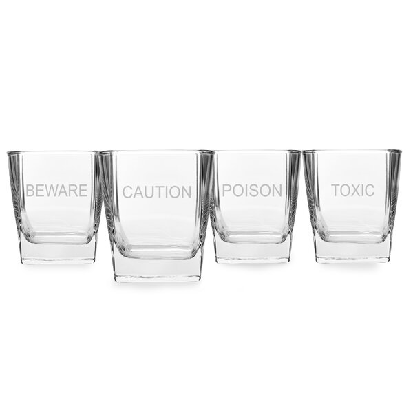 4 Piece Howlin Purrfection Rock 10.5 oz. Old Fashioned Glass Set by Cathys Concepts