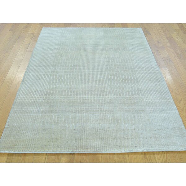 One-of-a-Kind Bean Nepali Hand-Knotted Beige Wool/Silk Area Rug by Isabelline