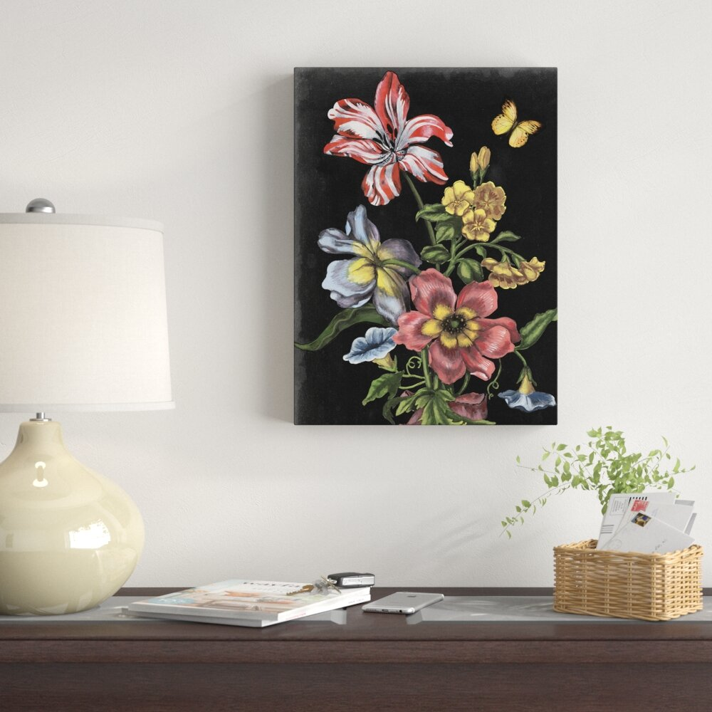 East Urban Home Dark Floral I Acrylic Painting Print On Wrapped