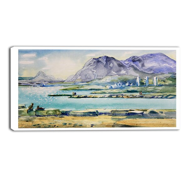 Hills Landscape Painting Print on Wrapped Canvas by Design Art