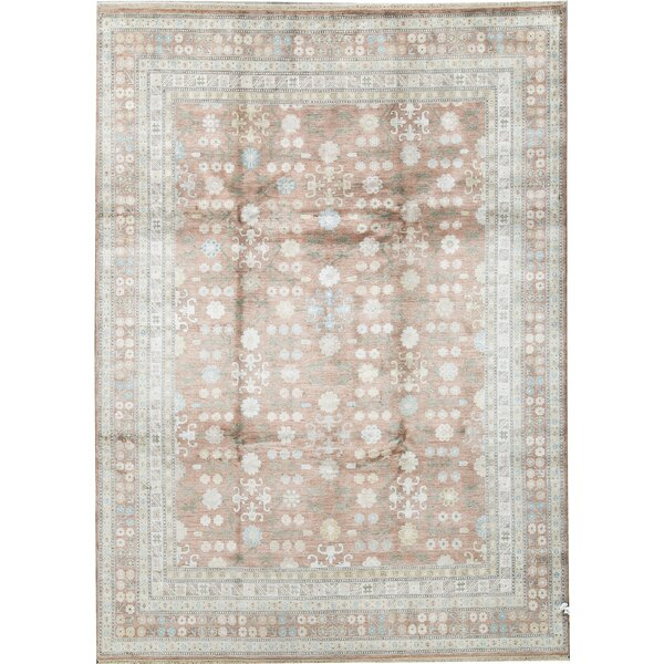 One-of-a-Kind Hand-Knotted Ivory/Brown 8'9 x 12' Silk Area Rug